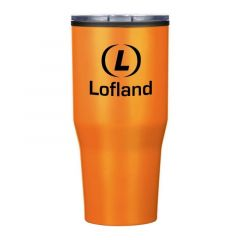 orange tumbler with a clear lid and an imprint saying Lofland