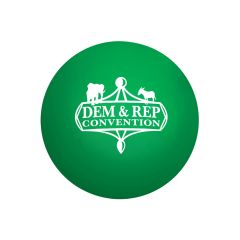 green round stress ball with an imprint saying dem & rep convention