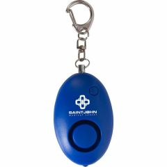personalized blue safety alarm keychain with built-in LED light