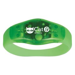 personalized green safety light wristband with imprint on front