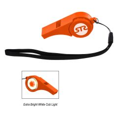 personalized orange safety whistle with cob light and wristlet