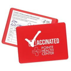 personalized red vaccination card holder with card inserted