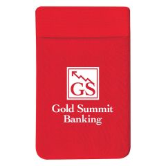 red stretchy spandex phone wallet with an imprint saying gold summit banking
