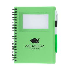 personalized lime green spiral notebook with white and green pen, ID window, and an imprint saying aquarium superstore