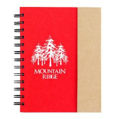 personalized red spiral notebook with cardboard cover