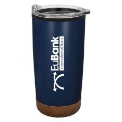 navy cork base mug with a clear lid and an imprint saying Eubank International Bank