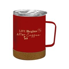 red cork base mug with a clear lid and an imprint saying Life Begins After Coffee