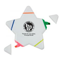 A star highlighter with colors in orange, green, yellow, pink, and blue with an imprint in the middle saying Belle Chasse Academy Lousiana