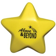 personalized yellow star stress reliever with imprint in middle