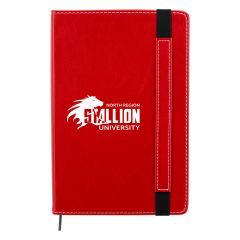personalized red journal with leatherette finish and matching strap and bookmark closure