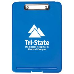 a blue clip board with an imprint saying tri-state memorial hospital & medical campus