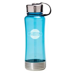 personalized blue plastic bottle with strap, silver top and bottom, and an imprint on the front saying 3rd annual gold benefit
