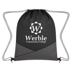 personalized polyester drawstring bag with reflective strips