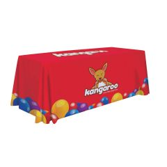 personalized red table cover with designs