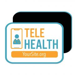 a magnet with an imprint of a door inside a phone next to a text saying telehealth and yoursite.org text below