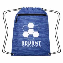 blue drawstring bag with front zippered pocket and an imprint saying advant services