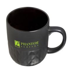 black textured mug with an imprint saying Phantom Screens