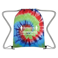 personalized tie dye drawstring bag and an imprint saying between connections social connection event