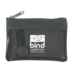 pink translucent coin pouch with a split ring attachment, top zippered compartment, and an imprint saying bind marketing with 1.800.235.bind text below