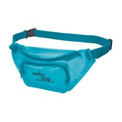blue translucent fanny pack with two zippered compartments and an imprint saying metro loop northeast transit system