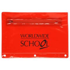 personalized red translucent pouch with main zippered compartment