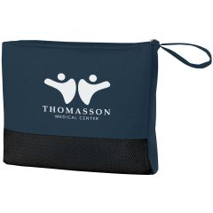 navy travel bag with black bottom and an imprint with two stick figures with their arm out and text below saying thomasson medical center