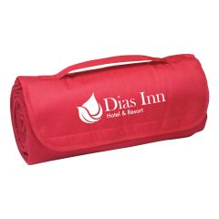 personalized red travel roll up blanket with a carry handle and an imprint saying dias inn hotel & resort