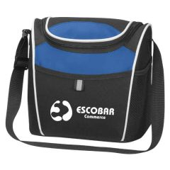 two-tone lunch bag with adjustable strap and mesh pocket