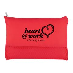 red cosmetic bag with mesh base and an imprint saying heart @ work nursing care