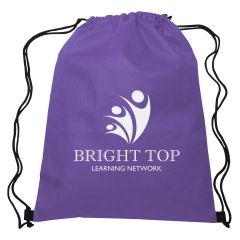 purple non-woven drawstring bag with logo three stick figures as a logo with text saying bright top learning network below