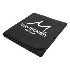 black fleece blanket with imprint saying montgomery ski resort