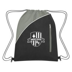 personalized non-woven drawstring bag with front zippered pocket