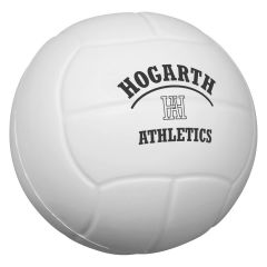 personalized white volleyball stress reliever with imprint on front