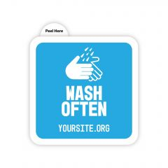 a square sticker saying wash often and yoursite.org text below