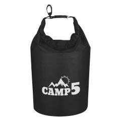 black waterproof clip-on dry bag with an imprint saying camp 5