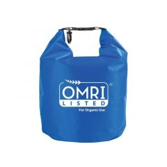 blue waterproof dry bag with an imprint saying OMRI Listed For Organic Use