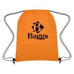 custom orange wave non-woven drawstring bag with an imprint baggs