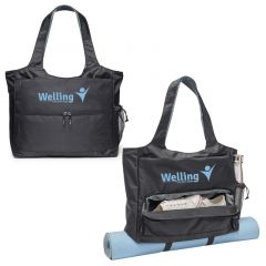 a group of yoga mat tote bags with a front zippered pocket, side mesh pocket, and an imprint saying welling get your shape