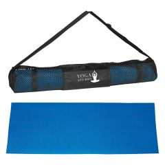 blue yoga mat with black carrying case and an imprint a logo of a person doing a yoga pose and text saying yoga studio