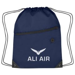 personalized polyester drawstring bag with front zippered pocket and earbud slot