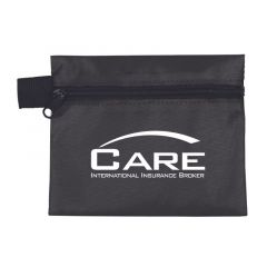 black zippered pouch with an imprint saying Care International Insurance Broker