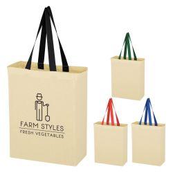 Colored Handle Cotton Tote Bag
