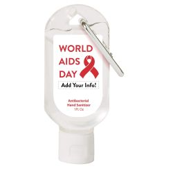 World AIDS Day Hand Sanitizer Carabiner