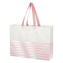 Custom Pink Striped Gusset Tote Bag