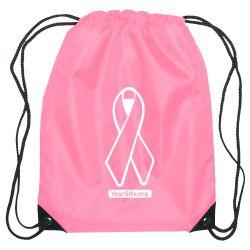 Pink Ribbon Breast Cancer Awareness Drawstring Bag